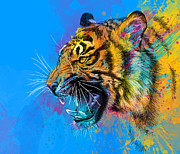 Colorful Mixed Media Posters - Crazy Tiger Poster by Olga Shvartsur