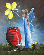 Yellow Fairy Paintings - Creating Tomorrow Fairy by Shawna Erback by Shawna Erback