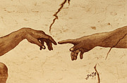 Creation Of Adam Posters - Creation of Adam Hands a Study coffee painting Poster by Georgeta  Blanaru