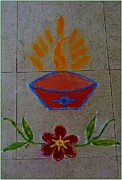 Good Luck Metal Prints - Creative Diya Rangoli Metal Print by Sonali Gangane