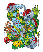 Ramspott Prints - Creative Fanciful Doodle Faces Village Print by Frank Ramspott