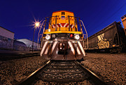 Industrial Pyrography Prints - Creative lightpainted train on the tracks in Los Angeles CA Print by Katrina Brown