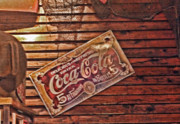 Vintage Memorabilia Prints - Creative Vintage Coca Cola Sign Print by Linda Phelps