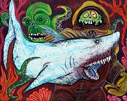 Sharks Painting Posters - Creatures Of The Deep Poster by Laura Barbosa