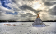 Snowstorm Photos - Cree Tepee by Mircea Costina Photography