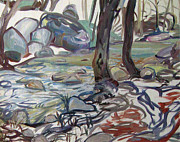 Western Sculpture Painting Prints - Creek at Leavus Flat Print by  Gita Lloyd