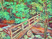 Expressionist Creek Oil Paintings - Creek Bridge by Kendall Kessler