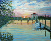 South Carolina Paintings - Creek Club Docks at IOn by Dwain Ray