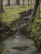 Tree Roots Painting Posters - Creek  Poster by Janet Felts