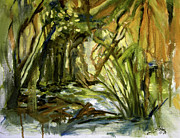 Expressionist Creek Oil Paintings - Creek Levels with overhang by Julianne Felton