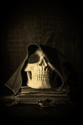 Creepy Hooded Skull Print by Edward Fielding