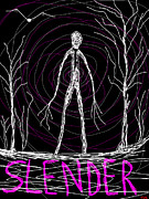Creepy Digital Art Metal Prints - Creepy Slender Man In Woods Creepy Halloween Metal Print by Tia Knight