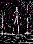Creepy Digital Art Metal Prints - Creepy Slender Man In Woods Metal Print by Tia Knight