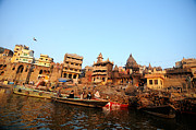 Cremation Ghat Of Varanasi Print by Money Sharma