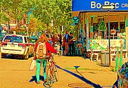 Outdoor Cafes Posters - Creme Glacee Bo Bec Ice Cream Shop Line Up On Laurier Sidewalk Cafe Street Scene Carole Spandau Poster by Carole Spandau