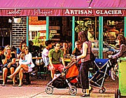 Montreal Restaurants Paintings - Creme Glacier Bilboquet Rue Bernard French Sidewalk Cafe Scene Montreal Art Work  Carole Spandau  by Carole Spandau