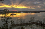 Conway Arkansas Prints - Crepuscular Rays from Cadron Overlook Print by Jason Politte