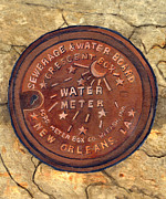 Old Street Metal Prints - Crescent City Water Meter Metal Print by Elaine Hodges