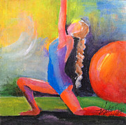 Yoga Pose Paintings - Crescent Moon by Katie Wolff