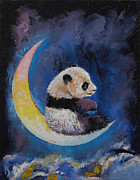 Panda Bear Paintings - Crescent Moon by Michael Creese