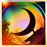 Arkansas Digital Art Metal Prints - Crescent Moon over Eureka Springs Metal Print by Garry McMichael