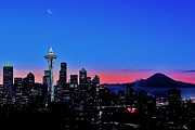 Seattle Skyline Posters - Crescent Moon Over Seattle Poster by Benjamin Yeager