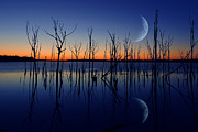 Raymond Salani Iii Photo Prints - Crescent Moon Reflection Print by Raymond Salani III