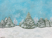 Snowscape Paintings - Crescent Moon Setting by Hillary Binder-Klein
