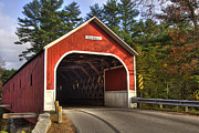Autumn Scenes Posters - Cresson Covered Bridge 2 Poster by Joann Vitali