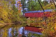 Autumn Scenes Prints - Cresson Covered Bridge 3 Print by Joann Vitali