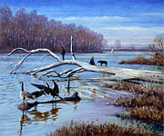 March Painting Framed Prints - Creve Coeur in March Framed Print by John Lautermilch