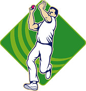 Cricket Prints - Cricket Bowler Bowling Ball Front Print by Aloysius Patrimonio