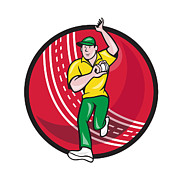 Cricket Fast Bowler Bowling Ball Front Cartoon Print by Aloysius Patrimonio