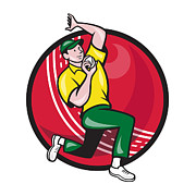 Cricket Fast Bowler Bowling Ball Side Print by Aloysius Patrimonio