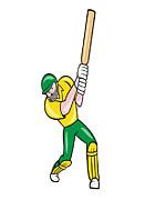 Cricket Player Batsman Batting Front Cartoon Isolated Print by Aloysius Patrimonio