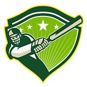 Player Prints - Cricket Player Batsman Star Crest Retro Print by Aloysius Patrimonio