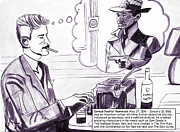 Novel Drawings - Crime Writers Dashiell Hammett by Brian Forrest