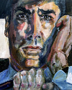 Faces Paintings - Criminal Minds Aaron Hotchner in 100 Episode Original Portrait by Ginette Callaway