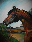 Nag Paintings - Crimson Arabian by Maricay Smeenk