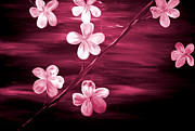Mark Moore Metal Prints - Crimson Cherry Blossom Metal Print by Mark Moore
