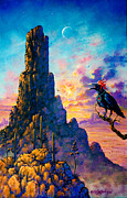 Southwest Art By Keith Stillwagon - Crimson Crowned Crow by Keith Stillwagon