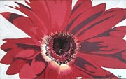 Featured Glass Art - Crimson Daisy by Wendy Blye