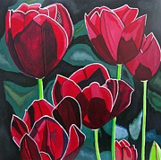 Floral Pictures Painting Prints - Crimson Delight Print by Sandra Marie Adams
