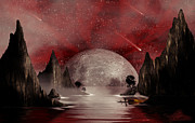 Moon Digital Art Posters - Crimson Night Poster by Anthony Citro