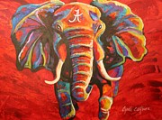 Roll Tide Framed Prints - Crimson Tide Elephant Framed Print by Cyndi Eastburn
