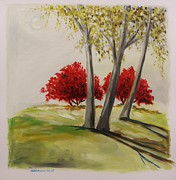 Autumn Landscape Drawings Framed Prints - Crimson Twins Framed Print by John  Williams