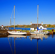 Docked Sailboats Framed Prints - Crinan Canal Framed Print by Craig Brown