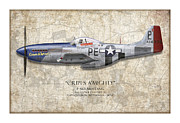 Aviation Artwork Posters - Cripes A Mighty P-51 Mustang - Map Background Poster by Craig Tinder