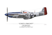 Jr. Art - Cripes A Mighty P-51 Mustang - White Background by Craig Tinder