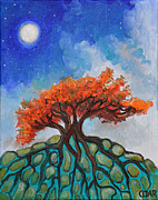 Tree Roots Painting Posters - Crisp Autumn Night Poster by Cedar Lee